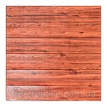 Самоклеюча 3D панель шпалери Wall Sticker 700х770х7мм червоне дерево
