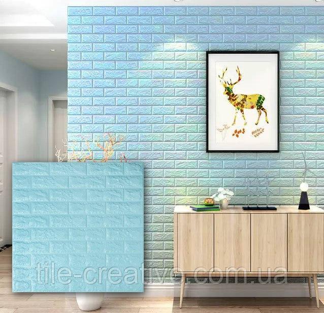 Самоклеящаяся 3D панель обои Sticker Wall 700x770x7мм бирюзовый кирпич