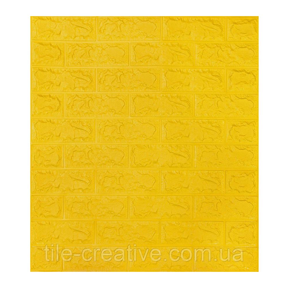 Самоклеящаяся 3D панель обои Sticker Wall 700x770x7мм желтый кирпич