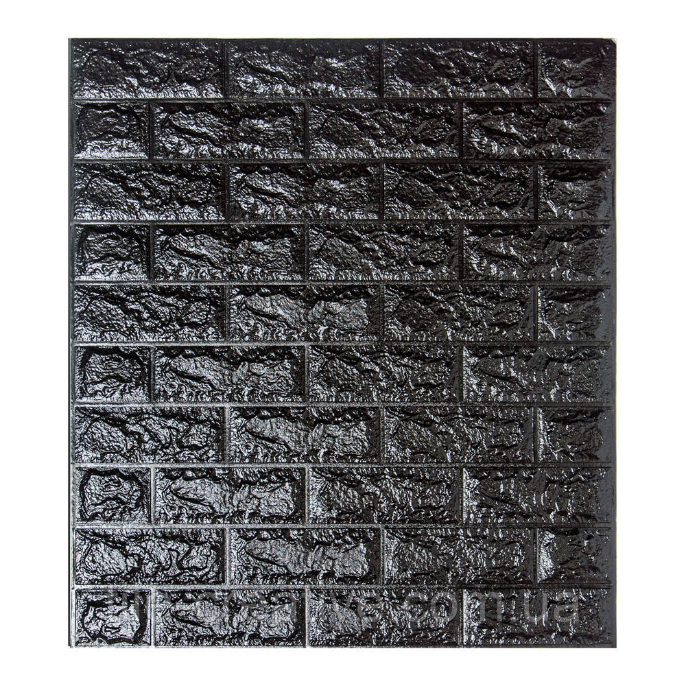 Самоклеящаяся 3D панель обои Sticker Wall 700x770x7мм черный кирпич