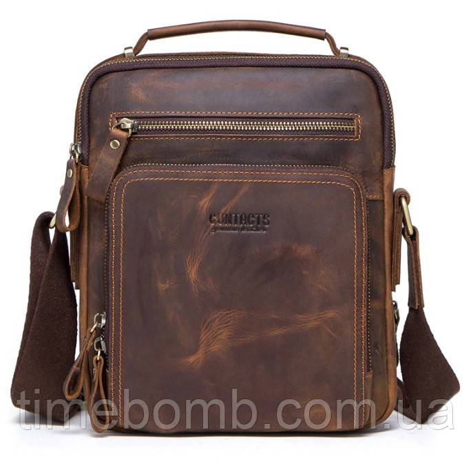 Мужская кожаная наплечная сумка Contacts с распашными карманами кофейная 057