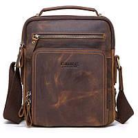 Мужская кожаная наплечная сумка Contacts с распашными карманами кофейная 057, фото 1