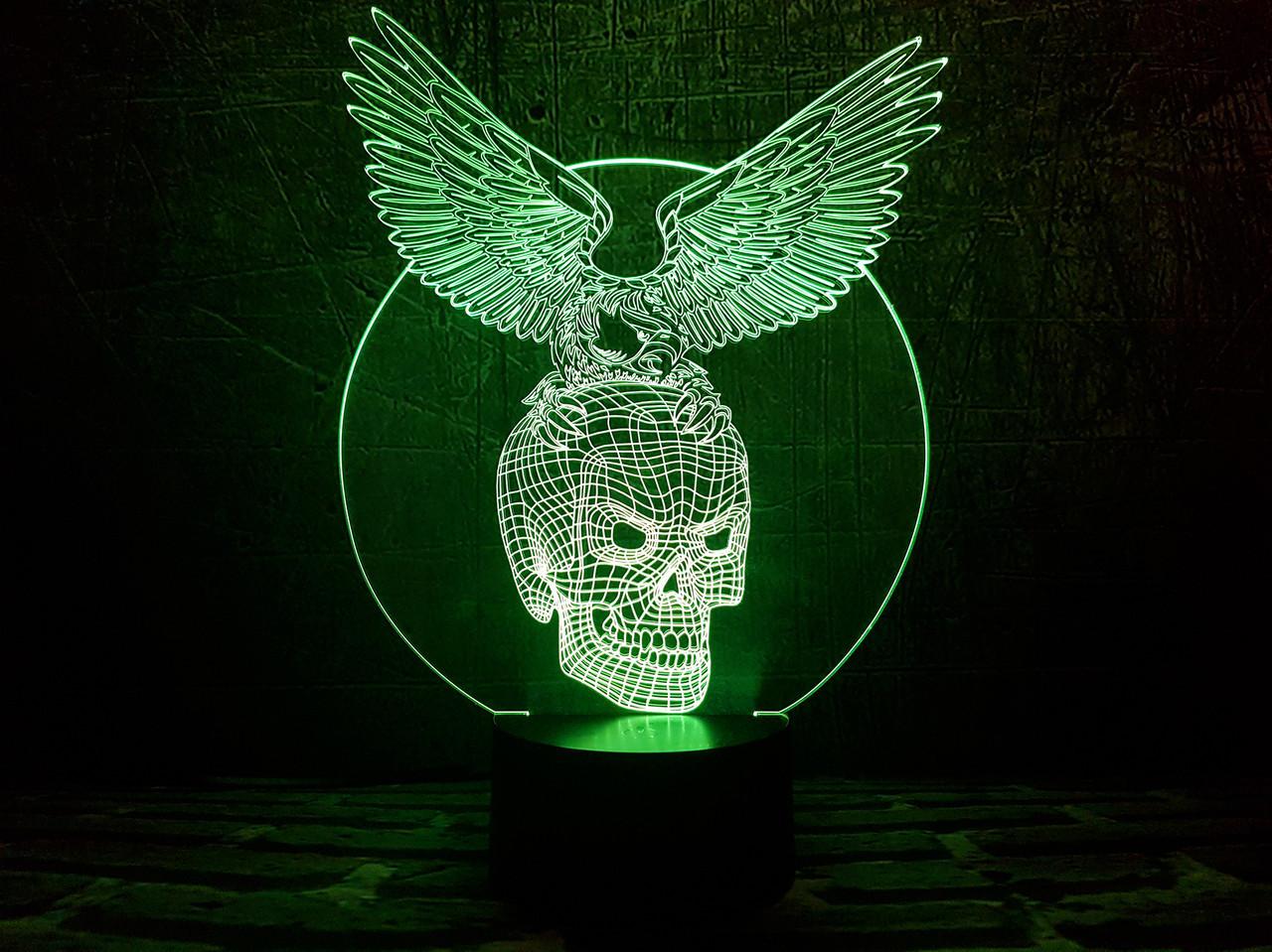 """Сменная пластина для 3D ночника с сенсорной панелью (7 цветов) """"Хрустальный череп"""" 3DTOYSLAMP"""