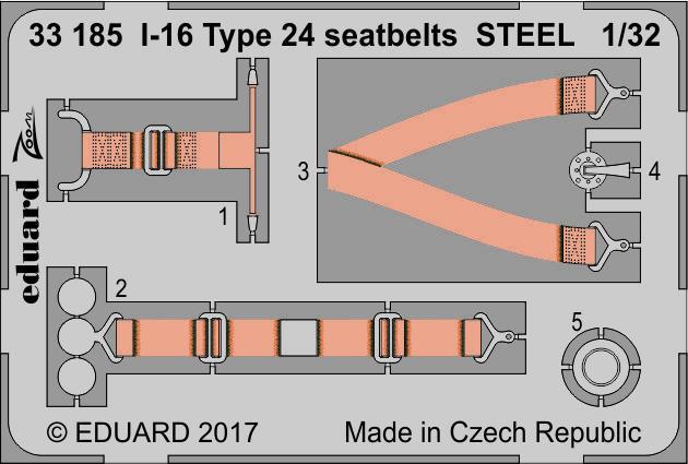 И-16 Тип 24 стальные ремни. Набор деталировки модели ИСМ. 1/32 EDUARD 33185