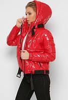 Женская демисезонная лаковая куртка на биопухе, оригинал