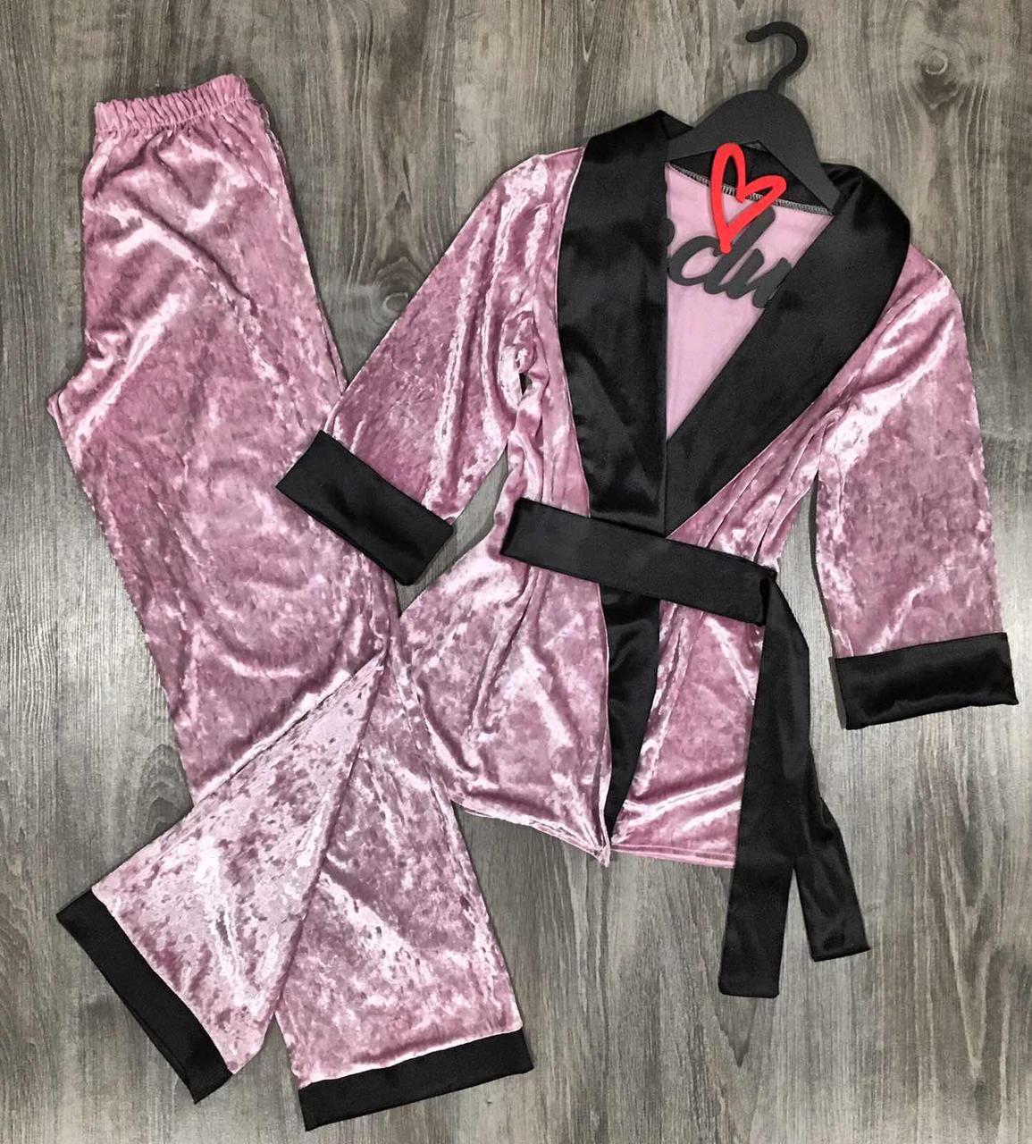 Пижама пиджак и штаны из мраморного велюра 046-1 пинк.