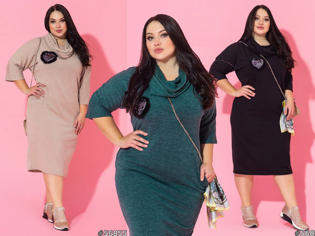 Женское платье батал с хомутом /разные цвета, 50-60, ST-56855/