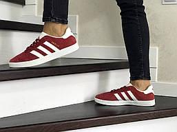 Женские кеды Adidas Gazelle из замши адидасы на шнуровке, красные с белой подошвой, ТОП-реплика
