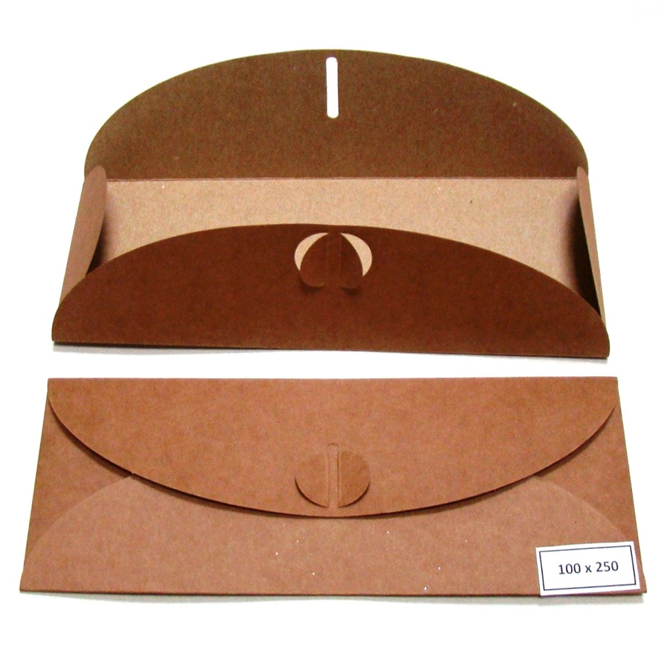 Подарочный конверт из эко крафт-картона 100 х 250 мм + ПОДАРОК (на 100 шт конвертов)