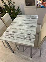 """Раскладной стол обеденный кухонный комплект стол и стулья рисунок 3д """"Светлые доски"""" ДСП стекло 70*110 Лотос-М, фото 1"""