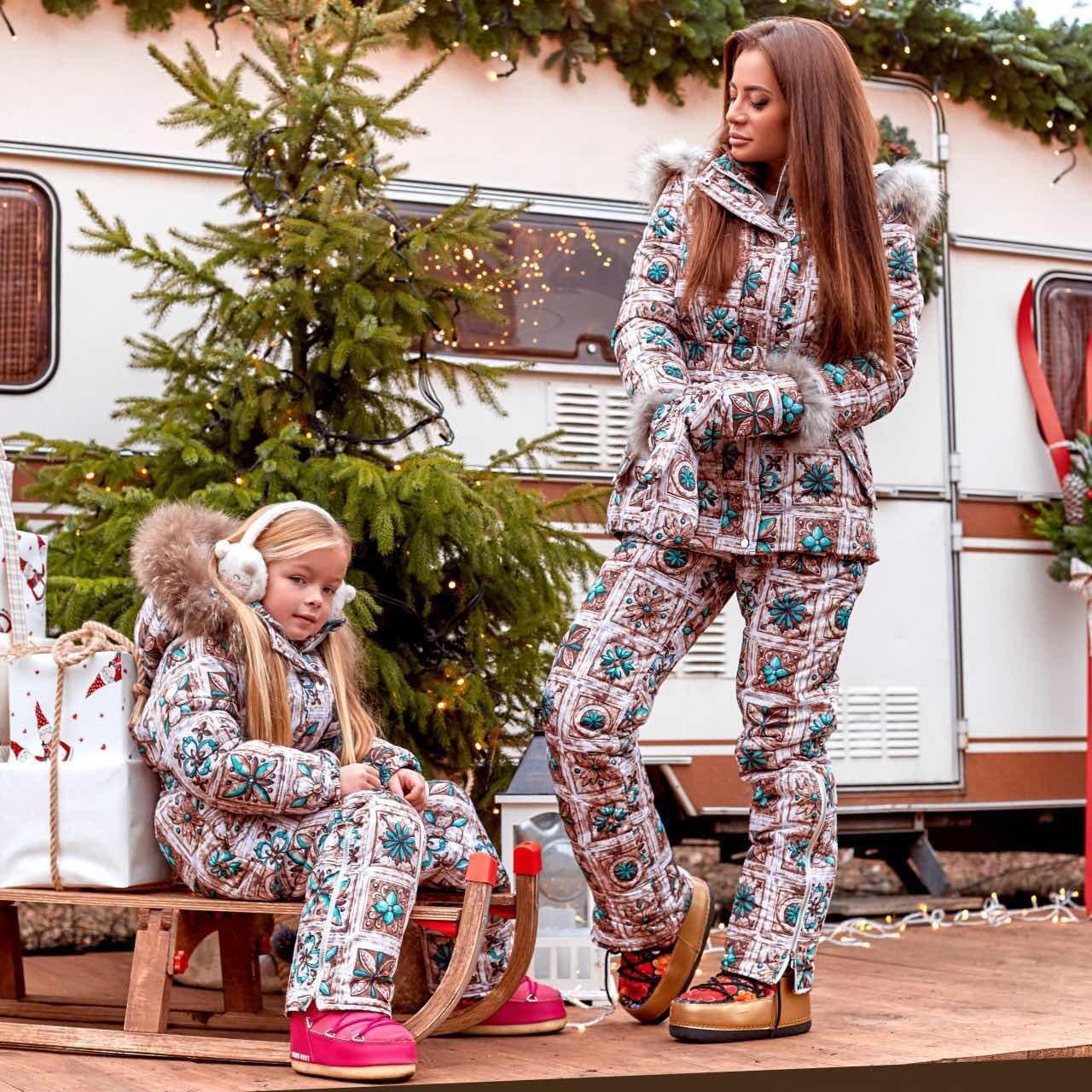 Зимовий жіночий костюм куртка+комбінезон Family Look