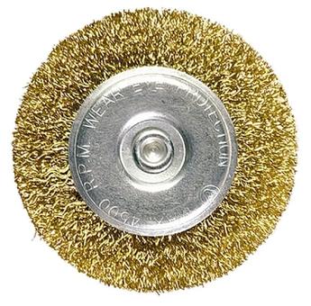 Щетка для дрели 30 мм, плоская со шпилькой, латунированная витая проволока MTX (744409)