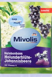 Mivolis Holunderblute-Johannisbeere Леденцы для горла без сахара Бузина и смородина + витамин С 75 г