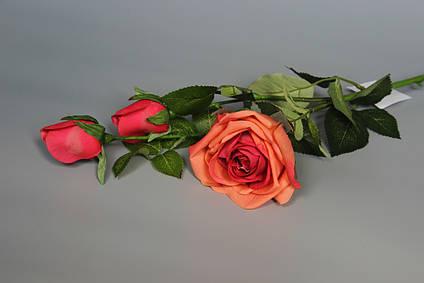 Искусственная роза-ветка, ткань,пластик, 73 см, персиковый (630034)