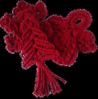 Ялинкові прикраси червоного кольору макраме