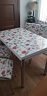 """Розкладний стіл обідній кухонний комплект стіл і стільці 3D малюнок 3д """"Червоні квіти"""" ДСП скло 70*110 Лотос-М, фото 1"""