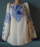 Українська жіноча вишиванка на довгий рукав із сіром льону ручної роботи із геометричним орнаментом