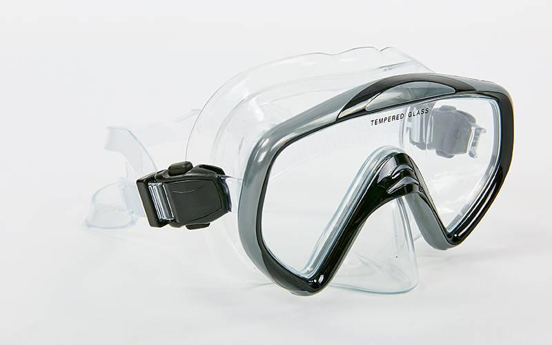 Маска для плавания в пластиковом боксе Legend (термостекло, PVC, пластик, черный-серый, черный-синий)