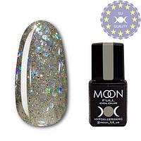 Гель-лак MOON FULL color Gel polish № 328 серебристо-золотой с разноцветным глиттером