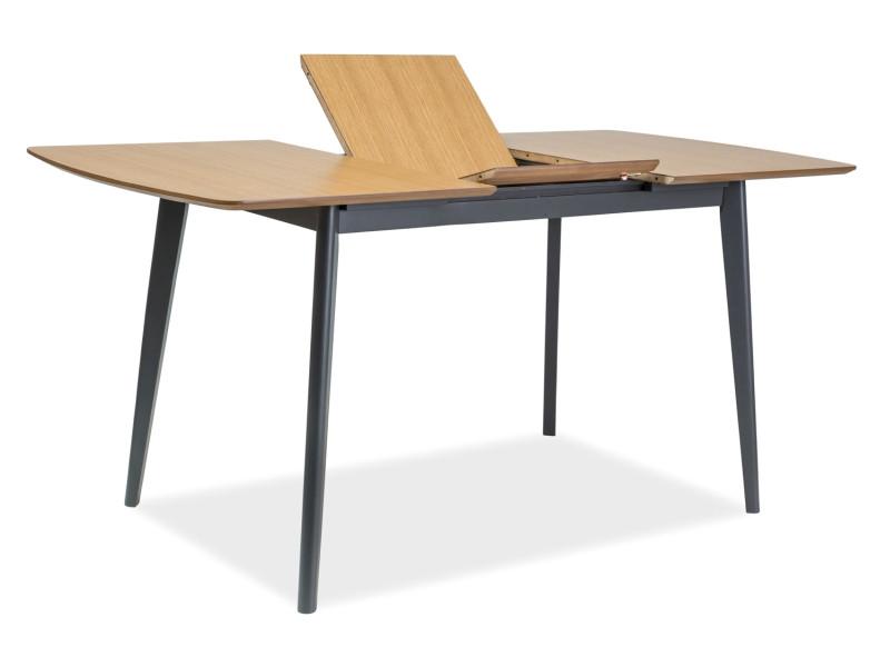 Стол раскладной деревянный кухонный обеденный на кухню столовый дуб графит VITRO II 120x80(160) (Signal)