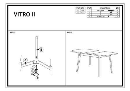 Стол раскладной деревянный кухонный обеденный на кухню столовый дуб графит VITRO II 120x80(160) (Signal), фото 2