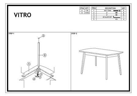Стол деревянный кухонный обеденный на кухню столовый дуб графит VITRO 120x75 (Signal), фото 2