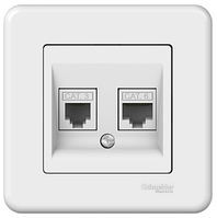 Розетка компьютер + телефон белая Leona Schneider Electric