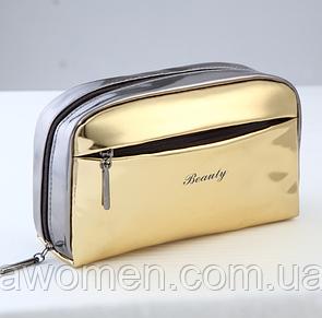 Косметичка на молнии с боковым карманом Gold  (19.5 см на 13 см)