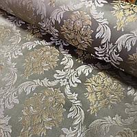 Тканина декоративна із золотим вензелем Дамаск на бежевому, ширина 150 см, фото 1