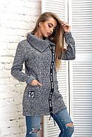 Кардиган женский на молнии, с  карманами, теплый, на флисе, модный, стильный,  до 52 р-ра, фото 1