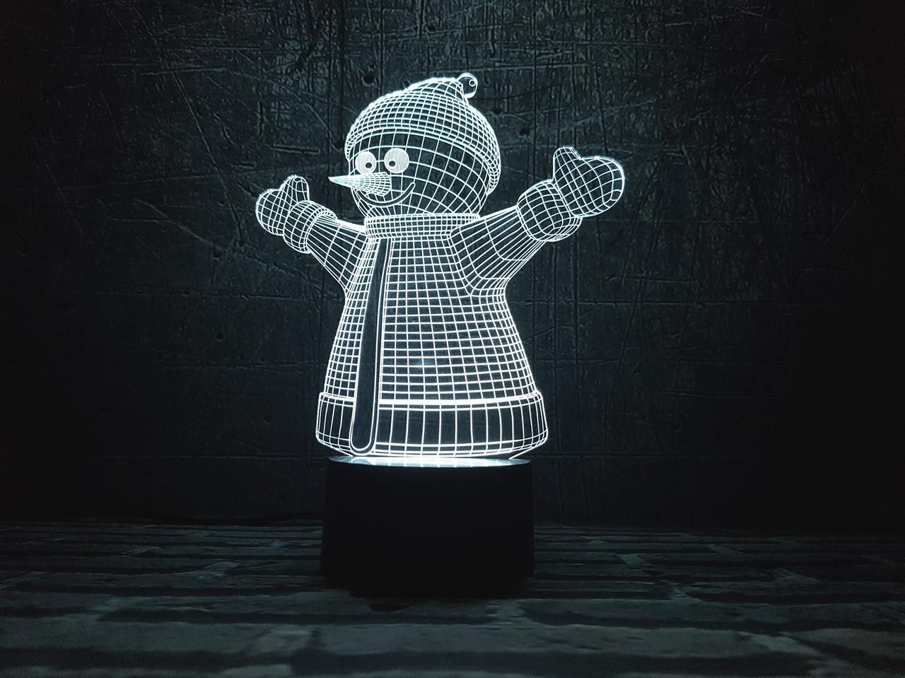 """Сменная пластина для 3D Светильников """"Снеговик """" 3DTOYSLAMP"""