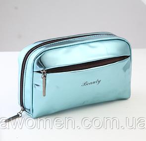 Косметичка на молнии с боковым карманом Blue (19.5 см на 13 см)