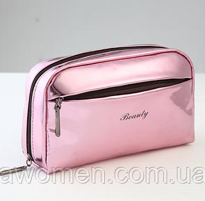 Косметичка на молнии с боковым карманом Pink (16.5 см на 11 см)
