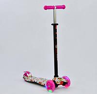 Самокат Best Scooter Maxi 1321 Розовый с рисунком и светящимися колёсами