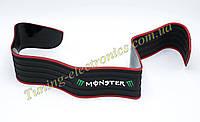 Универсальная гибкая Черно-Зеленая MONSTER защитная накладка лента на задний бампер авто от царапин и сколов