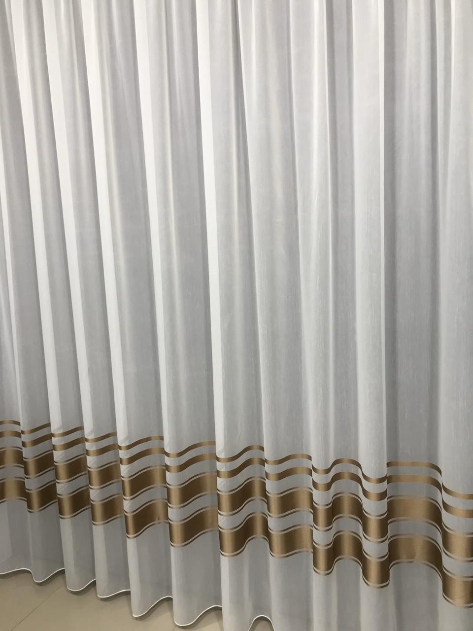 Турецька тюль батист (біла,коричнева й темно-сіра смуга на вибір) ( обробка сторін + 40 грн.)