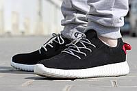 Кроссовки Adidas Yeezy Boost черно-белые замшевые
