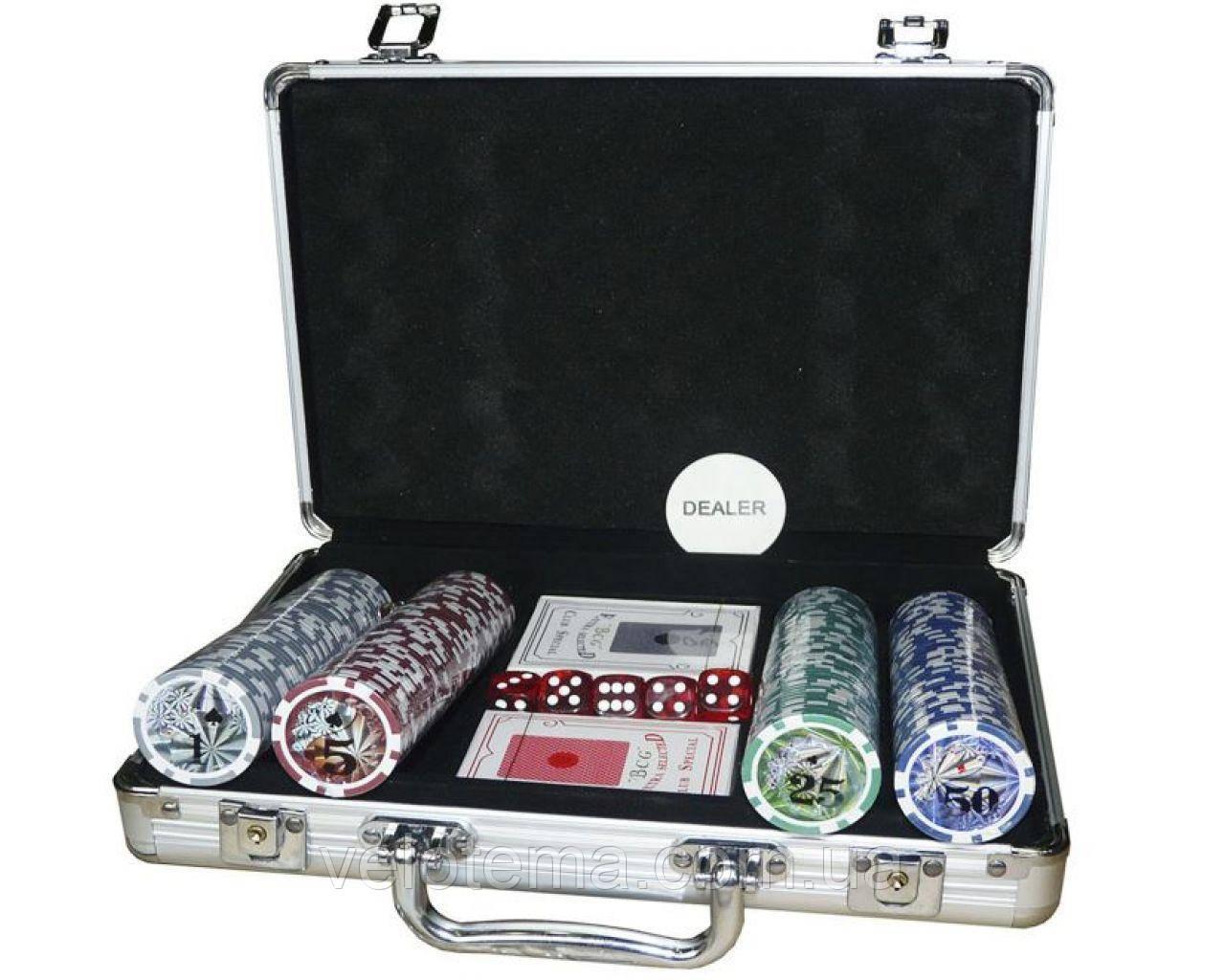 Покерный набор в алюминиевом кейсе на 200 фишек с номиналом №200N