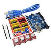 Контроллер Arduino UNO R3 + CNC shield v3 (шилд ЧПУ) + 4 драйвера шагового двигателя A4988