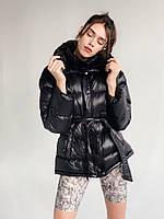 Женская зимняя куртка черная, фото 1