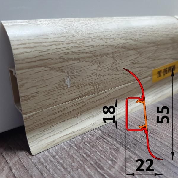 Плинтус для линолеума, высотой 55 мм, 2,5 м Дуб арктик