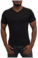 Мужская футболка | цвет темно-серый меланж | стрейч хлопок | V-образное горло | без рисунка