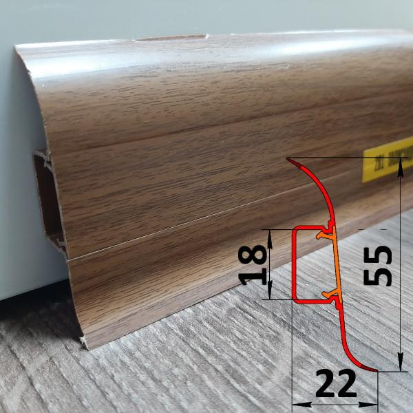 Плинтус из пластика с кабель-каналом, высотой 55 мм, 2,5 м Палисандр