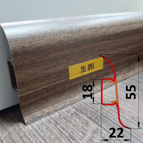 Плинтус ПВХ для квартиры, высотой 55 мм, 2,5 м Орех