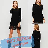 Платье черное футляр,с длинным рукавом, мини с кружевом и потайными карманами