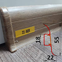 Пластиковый плинтус с мягкими краями, высотой 55 мм, 2,5 м Падук, фото 1