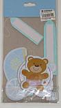 Віяло паперовий для декору дитячої 3 шт блакитний 1514, фото 2