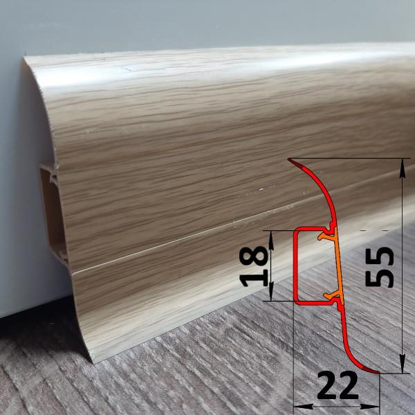 Качественный плинтус ПВХ, высотой 55 мм, 2,5 м Сосна золотистая