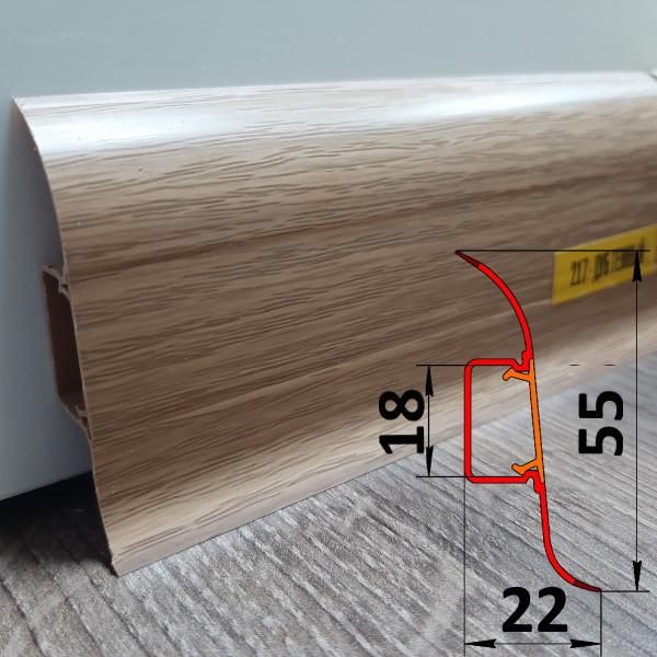 Плинтус под проводку, высотой 55 мм, 2,5 м Дуб тёмный