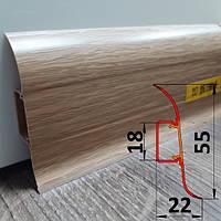 Плинтус под проводку, высотой 55 мм, 2,5 м Дуб тёмный, фото 1